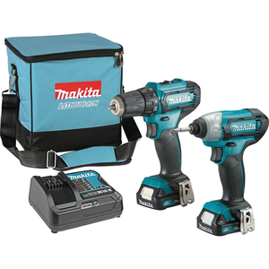 MAKITA akumulatorski set alata CLX224SA (akumulatorska bušilica DF333D + akumulatorski udarni odvijač TD110D + 2 akumulatora + brzi punjač + torba)