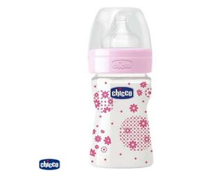 Chicco Plastična bočica 150ml, silikonska duda, 1 rupa, roza