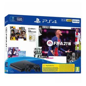 PlayStation 4 500GB F Chassis Black + FIFA 21 + FUT VCH + PS + 14dana + 2 x Dualshock Controller v2