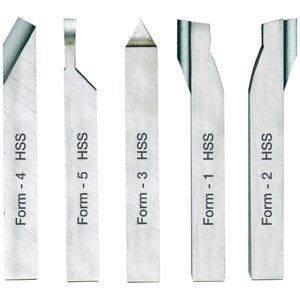 PROXXON tokarski obrađeni noževi od visokokvalitetnog kobalt HSS čelika-petodijelni set 8 x 8 x 80mm (za PD 230/E i PD 250/E), NO 24530