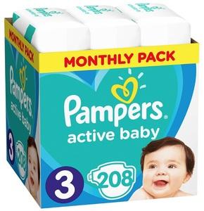 Pampers pelene Active Baby S3 MSB 208kom