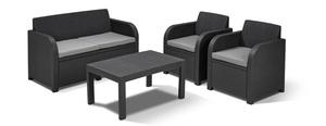 ALLIBERT CAROLINA wicker lounge set - stol sa dva naslonjača, jastuci  - Siva