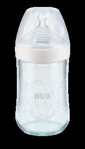 NUK NS staklena bočica bež 240 ml 0-6 mj