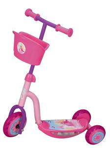 Romobil na 3 kotača sa svjetlima i košarom ružičasti