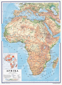 Karta Afrika, fizička 1:10 000 000