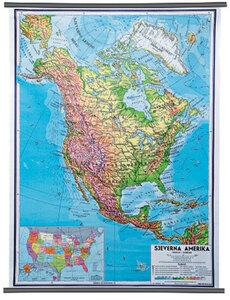 Karta Sjeverna Amerika, fizička 1:10 000 000