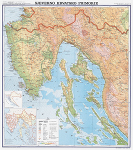 Karta Sjeverno hrvatsko primorje, fizička 1:130 000