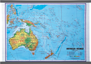 Karta Australija i Oceanija, fizička 1:10 000 000