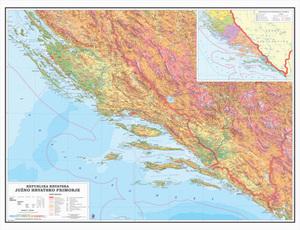 Karta Južno hrvatsko primorje - Dalamacija, fizička 1:200 000