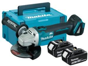 MAKITA akumulatorska kutna brusilica 18V, 125mm (18V,5.0Ah,Li-ion), 2 baterije, kofer, punjač