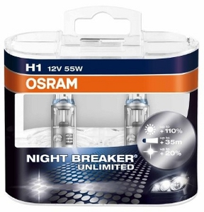 Osram žarulja 64150NBU DUO-Pack 12V 55W H1 P14.5s Night Breaker UNLIMITED (2 x H1) par +110 %