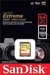 Memorijska kartica SanDisk Extreme SDXC UHS-I, U3, V30 64GB