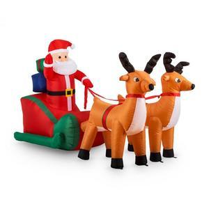 OneConcept X-Mas, 240 cm, božićna dekoracija na napuhavanje, Djed Božićnjak na sanjkama, LED