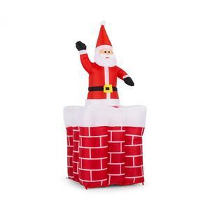OneConcept Merry Surprise, 180 cm, božićna dekoracija na napuhavanje, dimnjak sa Djedom Božićnjakom, LED
