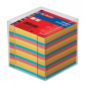 Stolna kocka s papirom, PVC, 9 x 9 x 9 cm, 650 listova u boji, Herlitz