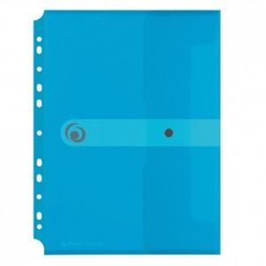 Kuverta s dugmetom, A4, uložna, polipropilen, prozirno plava, Easy orga to go, Herlitz