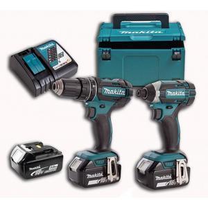 MAKITA akumulatorski set alata DLX2127TJ1 (akumulatorska bušilica-odvijač DDF482 + akumulatorski udarni odvijač DTD152 + 3 akumulatora BL1850 + brzi punjač DC18RC + MAKPAC kofer)