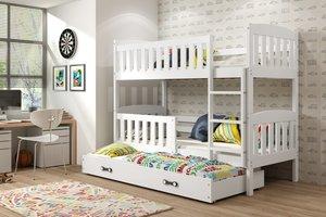 Drveni dječji krevet na kat Kubus s 3 kreveta - bijeli - 190x80