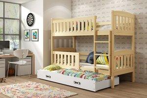 Drveni dječji krevet na kat Kubus s 3 kreveta - svijetlo drvo - 190x80