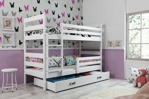 Drveni dječji krevet na kat Erik s ladicom - 200x90 - bijeli