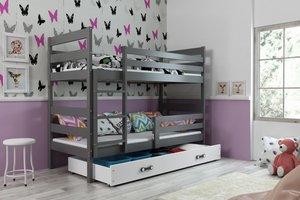 Drveni dječji krevet na kat Erik s ladicom - 190x80 - grafit-bijeli