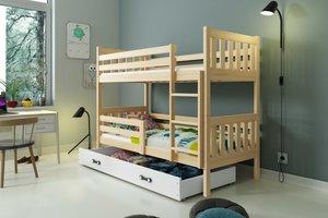 Drveni dječji krevet na kat Carino s ladicom 190*80cm - svijetlo drvo