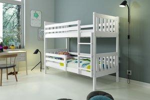 Drveni dječji krevet na kat Carino 200*90cm - bijeli