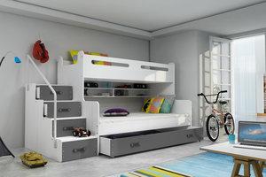 Drveni dječji krevet na kat MAX 3 s ladicom 200*120cm - grafit