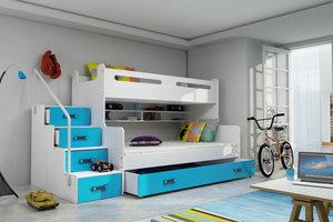 Drveni dječji krevet na kat MAX 3 s ladicom 200*120cm - plavi