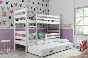 Drveni dječji krevet na kat Erik s tri kreveta -190x80 - bijeli-bijeli