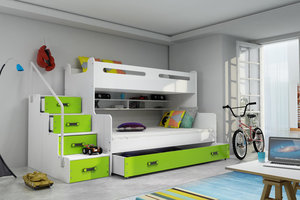 Drveni dječji krevet na kat MAX 3 s ladicom 200*120cm - zeleni