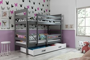 Drveni dječji krevet na kat Erik s ladicom - 160x80 - grafit-bijeli