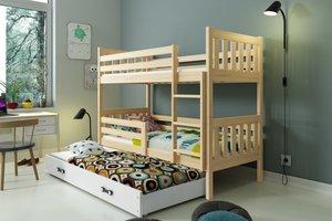 Drveni dječji krevet na kat Carino s tri kreveta 190*80cm - svijetlo drvo