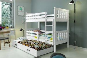 Drveni dječji krevet na kat Carino s tri kreveta 190*80cm - bijeli