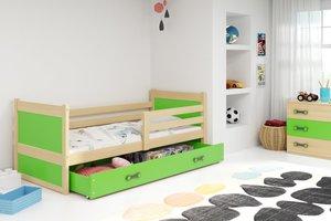 Drveni dječji krevet Rico - bukva - zeleni - 190x80