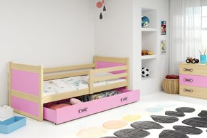 Drveni dječji krevet Rico - bukva - roza - 190x80