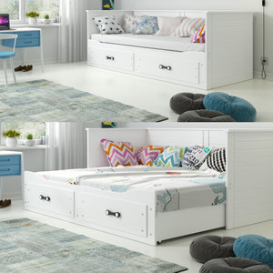 Drveni dječji krevet Hermes na razvlačenje - bijeli