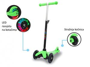 Jamara romobil za djecu, 3 kotača, svjetla na kotačima, zeleni