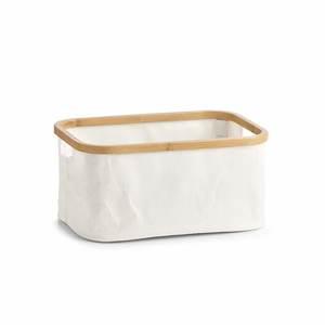 ZELLER košara za odlaganje, bambus i platno, 38x26x18 cm 14237