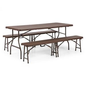 Blumfeldt Burgos vrtni set - sklopivi stol i dvije klupe