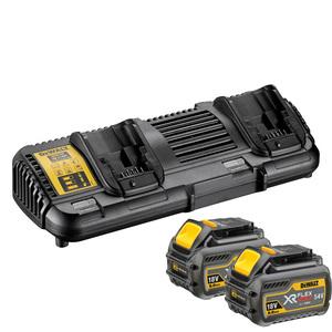 DEWALT XR FLEXVOLT dupli brzi punjač + 2 baterije DCB546 6,0 Ah
