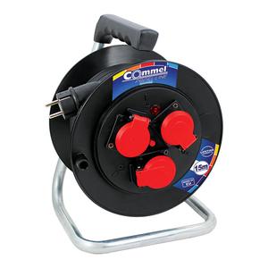 COMMEL kabelska motalica na PVC bubnju 230 mm, H05RR-F 3G1,5 / 15 m