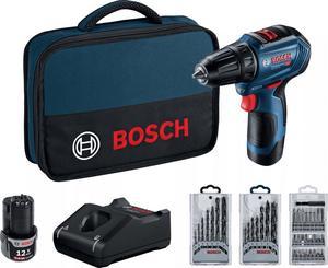 BOSCH Professional akumulatorska bušilica-izvijač GSR 12V-30 - Brushless motor (2x 2,0Ah + GAL 12V-40, torba, set bitova i 2 seta svrdla)