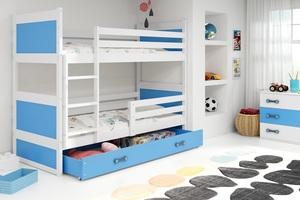 Drveni dječji krevet na kat Rico s ladicom 190*80 cm - bijeli - plavi