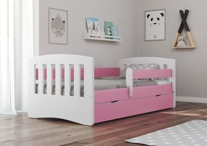 Drveni dječji krevet Classic s ladicom 180*80 cm - rozi