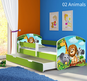Krevet s bočnom stranicom i ladicom zelena 140x70, motiv: 02 Animals