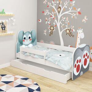 Drveni dječji krevet ANIMALS s ladicom, bijeli, 140x70, 01 ZEKO