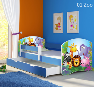 Krevet s bočnom stranicom i ladicom plava 160x80, motiv: 01 Zoo