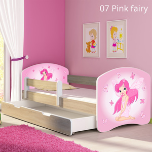Krevet s bočnom stranicom i ladicom sonoma 180x80, motiv: 07 Pink Fairy