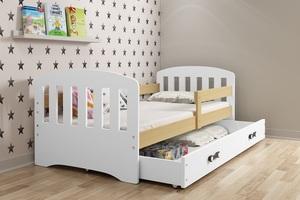 Drveni dječji krevet s klasičnom ladicom CLASSIC 160×80, bijeli + natural